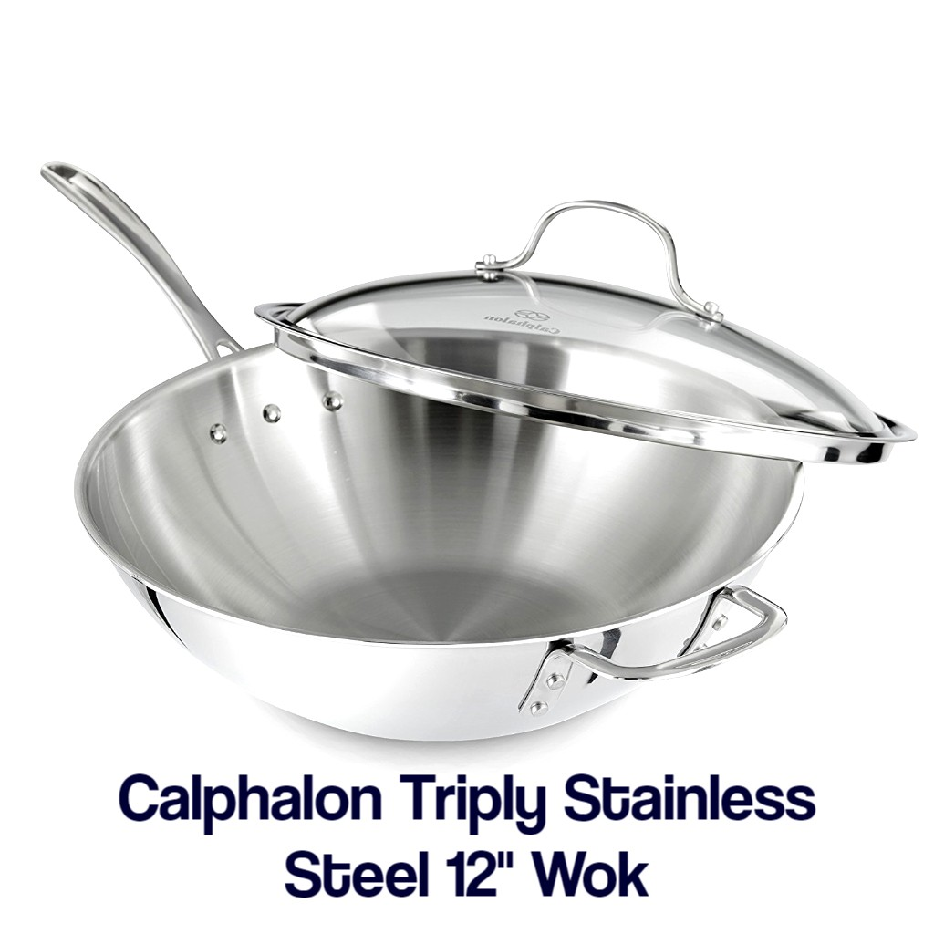 Calphalon Triply Stainless Steel 12-Inch Wok