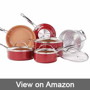BulbHead 10824 Red Copper Cookware Set review